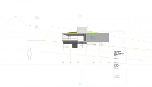 1_design elevation for single family house on a hill overlooking the river Rhine valley.