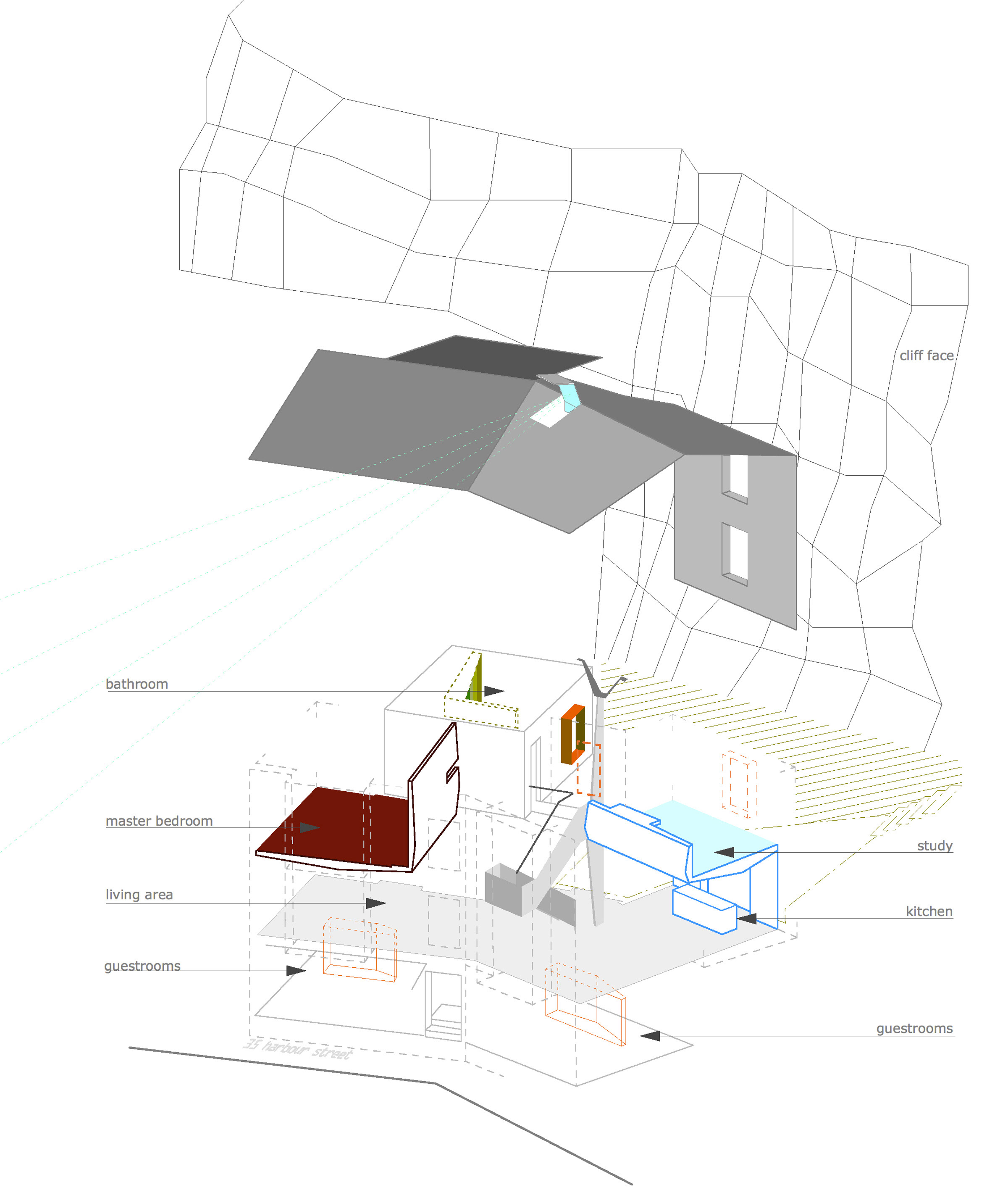 35_Harbour Street Axonometric drawing of the building interventions